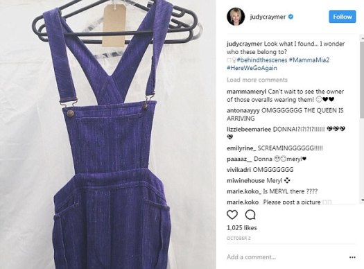 Craymer teased fans on October 2 - three days before the Weinstein scandal broke - by sharing this photograph of the overalls her character wore in the first film