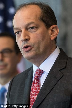 US Labor Secretary Alexander Acosta speaks during a press conference on the Social Security and Medicare Boards of Trustees in July 2017