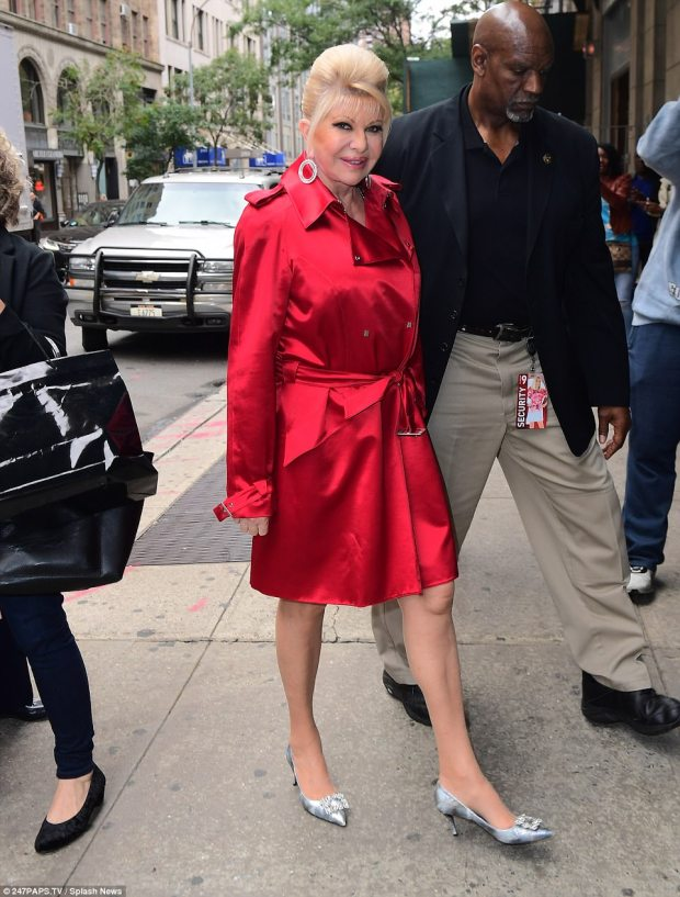 Dolled up: Ivana smiled as she headed to a taping of the Wendy Williams Show in a shiny red trench coat