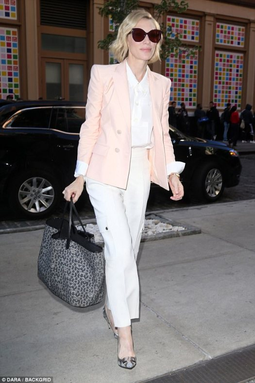 So chic: Cate Blanchett looked immaculate as she was pictured in New York on Thursday