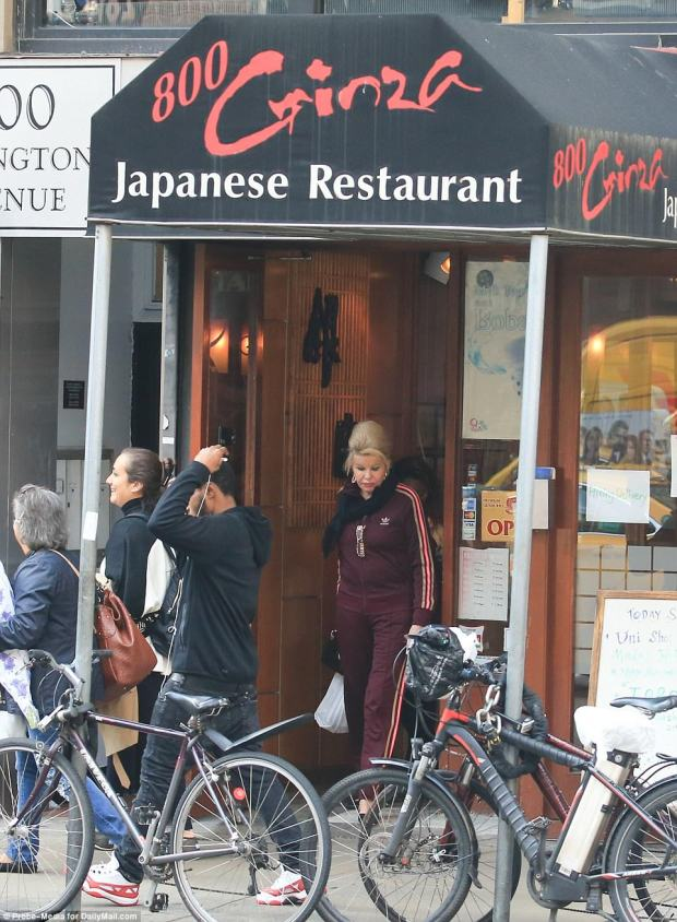 Making a stop: Ivana's outing included a detour by a Japanese restaurant, where she grabbed some food during her errands