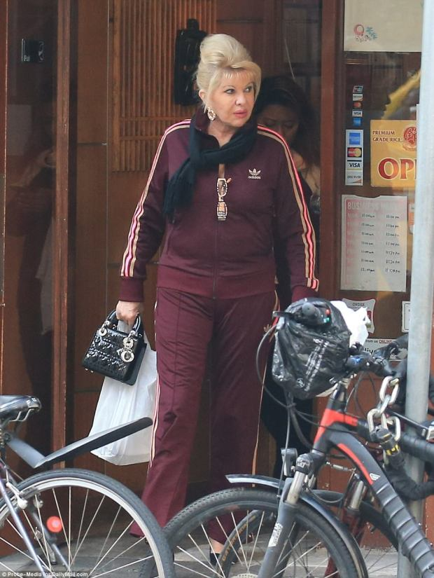 Keeping warm: In addition to her tracksuit, Ivana wrapped a black scarf around her neck to face the chilly temperatures