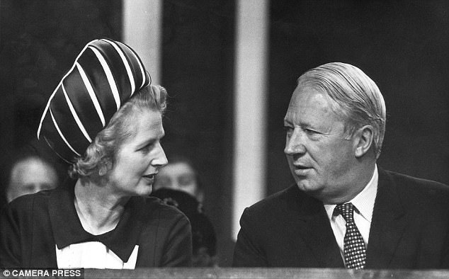 Margaret Thatcher pictured at the 1971 Conservative Party Conference, with the then leader of the party, Edward Heath