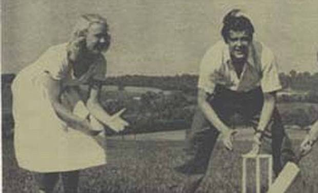 Policeman¿s son Moore fell passionately in love with the hot-headed blonde Doorn, even learning to ice skate so he could spend more time with her. Pictured: The couple playing cricket in 1953