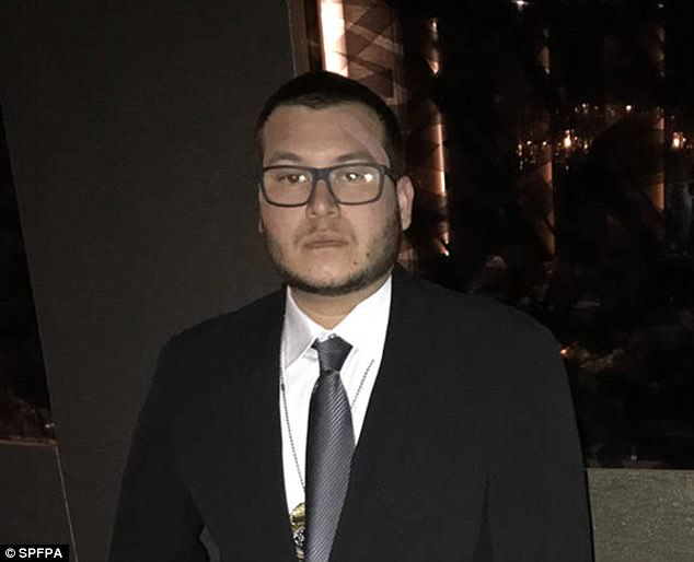 Mandalay Bay security guard Jesus Campos (pictured for the first time since the Las Vegas massacre) visited a 'quick clinic' on Thursday after vanishing moments before he was due before the media