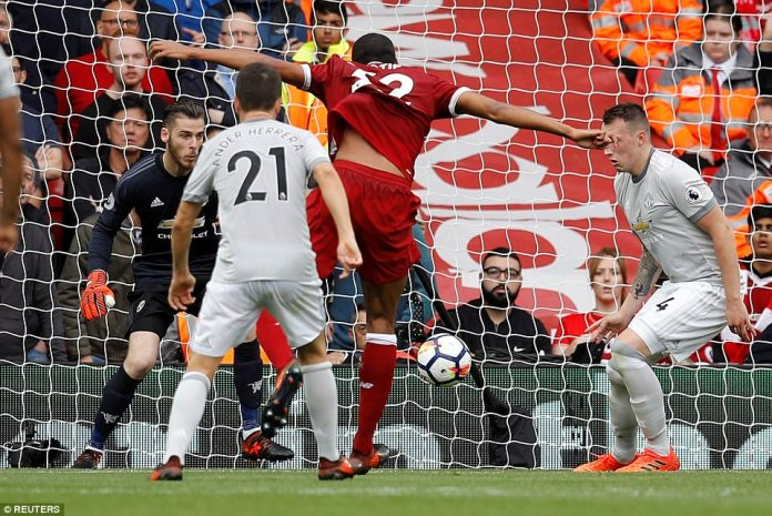 Joel Matip forced a stunning save from David De Gea who used his legs to deny the defender with stunning reflexes