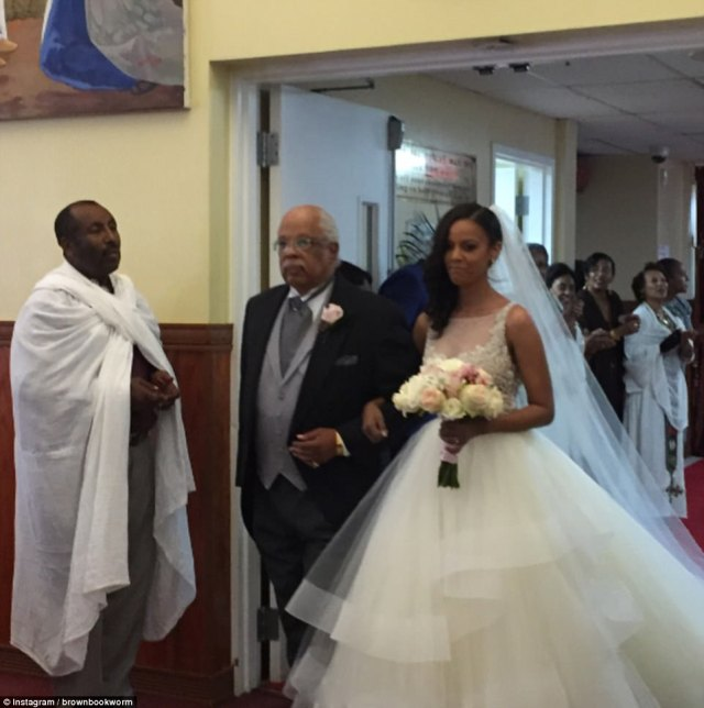 Austin wore a dress from Lazaro and broke with Ethiopian tradition in having her father walk her down the aisle