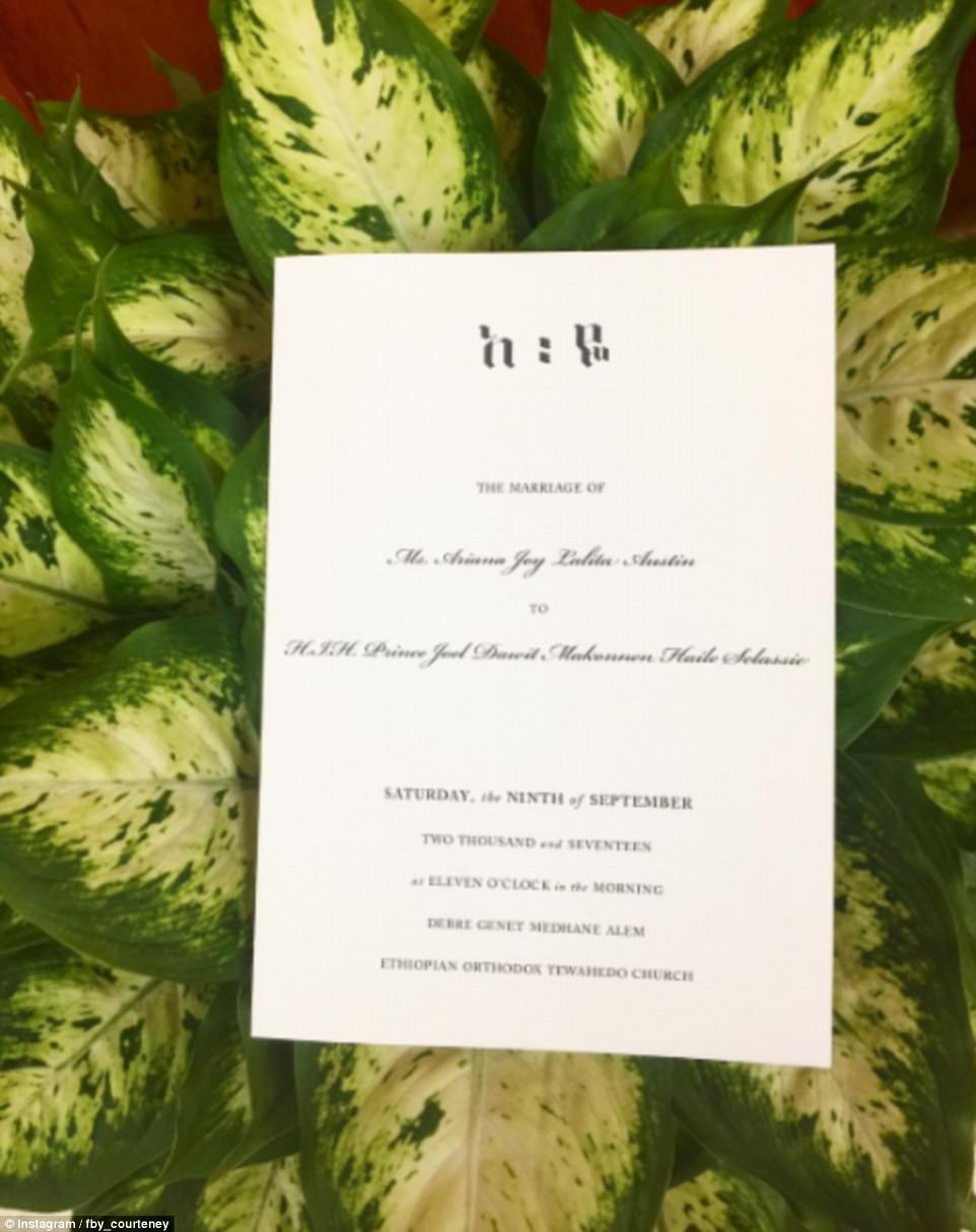 The wedding invites named Makonnen as HIH Prince Joel Dawit Makonnen Haile Selassie