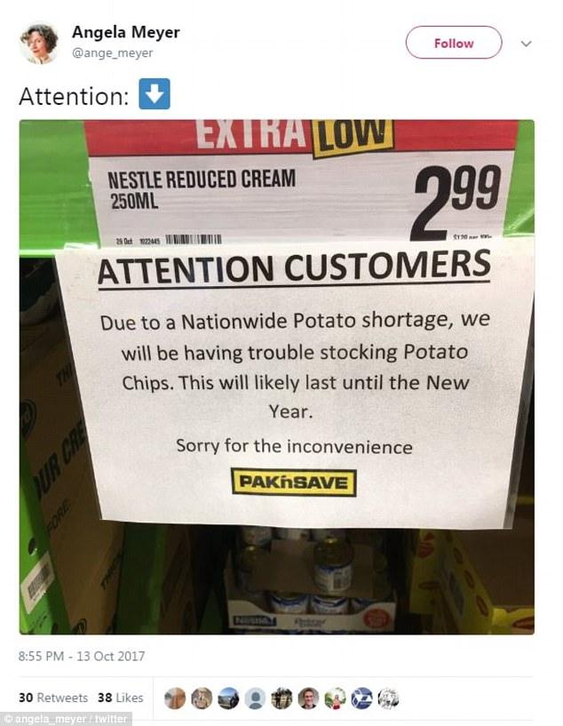 New Zealanders brace for a crisps crisis as farmers warn of a potato shortage (pictured)<wbr>