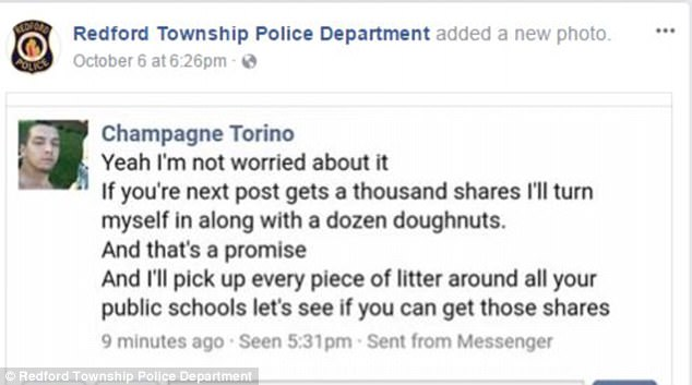 A request for comment by Daily Mail Online to the Redford Township Police Department was not immediately returned