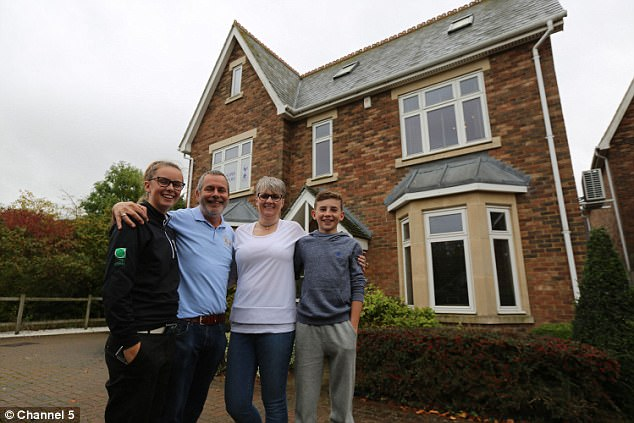 Luxury living: Restaurant entrepreneur Steve Haslam and wife Jo with their children Holly and Oliver outside their £1million six-bedroom family home in Chelmsford, Essex. The family struggled to buy enough food with the Brimicombe's £140-a-week budget