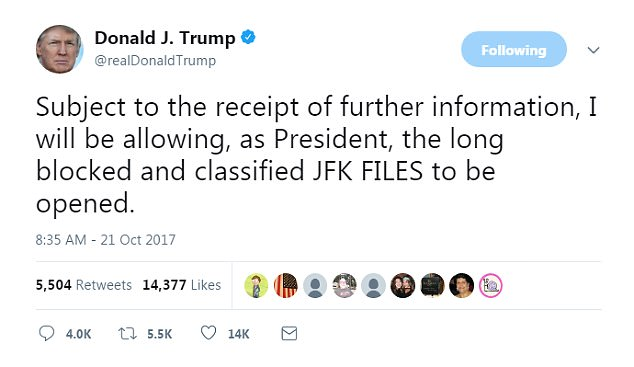 Trump said that he will unseal tens of thousands never-before-seen documents on the assassination of JFK