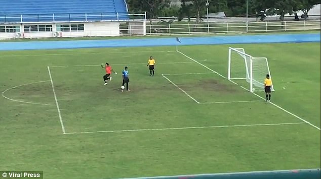 The goalkeeper ran out of the goal and and jumped in the air in celebration, while the penalty taker held his head in despair. But the ball slowly bounced back into an empty goal