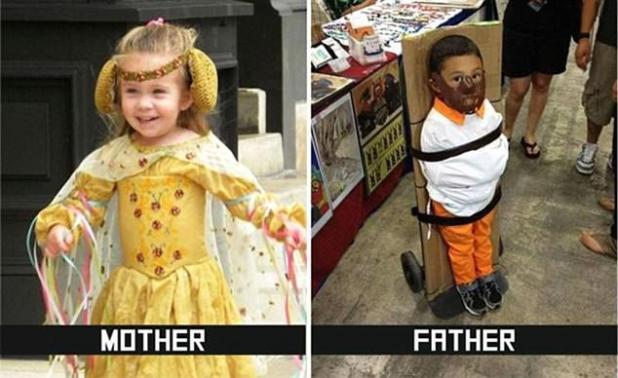 Este complemento resume lo que sucede cuando cada padre queda a cargo de organizar el disfraz de su hijo
