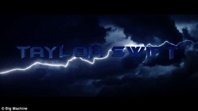 Dramatic: Here her name is seen in blue with the lightening bolts