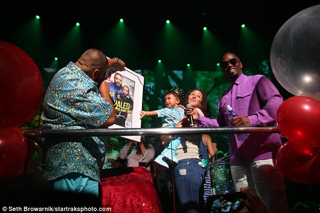 Memories: Khaled presented his son with a framed and enlarged copy of the Spring 2017 issue cover of XXL magazine, which they had appeared on together