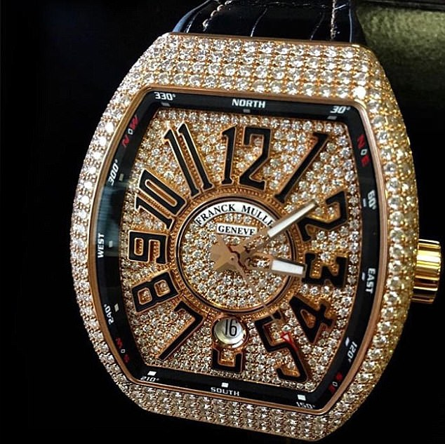 Only the best: Khaled and his fiancée Nicole Tuck also gifted Asahd a diamond-studded rose gold Franck Muller watch with a price tag of a bit more than $100,000, TMZ reported