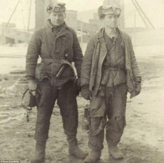 Two Lithuanian political prisoners get ready to go to work in a coal mine in Inta, USSR. The Inta labour camp existed from 1941 to 1948, and prisoners were mainly engaged in the mining of local coal deposits. The number of inmates at the camp reached 20,585 at its highest size. In 1948, the camp was shut down and reorganized into a special camp for political prisoners