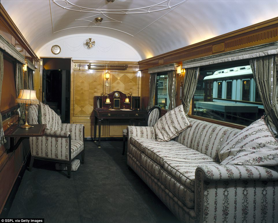This picture shows how the train's decor has changed over the years. The Royal Saloon built by East Coast Joint Stock built in 1908 and used by Edward VII (1841-1910) and later Queen Mary (1867-1953) features elaborate decoration and a writing desk