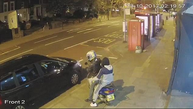 A 'DNA spray' which clings to fleeing moped raiders is being trialled to clampdown on soaring street crime. Pictured are moped thieves spotted in Hackney this month
