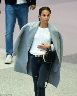 Going solo: The Swedish born beauty was seen without her new husband