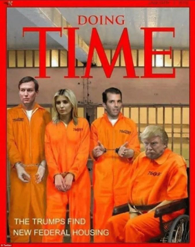 Image result for Picture of trump in orange prison suit in prison