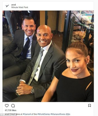 Two cute:Both the 48-year-old singer and the 42-year-old New York Yankees vet shared images to social media where they were watching the baseball game from outside their private box in a Houston, Texas stadium