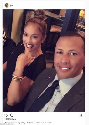 Nail biting:Jennifer Lopez looked like one happy lady as she joined beau Alex Rodriguez to take in the World Series over the weekend