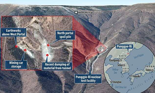The collapse is said to have taken place during the construction of a new underground facility at the Punggye-ri site (pictured) in northeastern North Korea, the report says