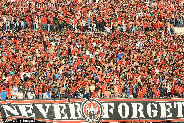A sea of red appeared in support of the Egyptian side ahead of their huge game on Saturday