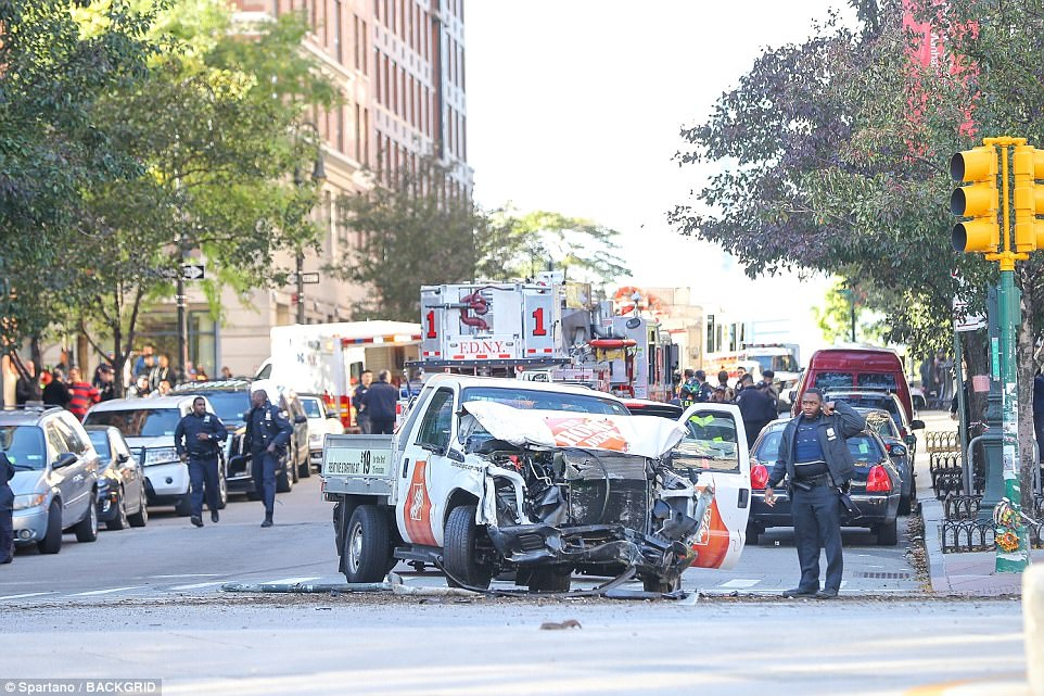 The rented Home Depot truck which plowed through cyclists and runners on a bicycle path on the West Side Highway in lower Manhattan on Tuesday afternoon