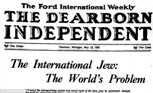 """Ford comprou um jornal semanal local em Dearborn, Michigan, onde publicou discursos anti-semitas sobre """"uma vasta e secreta conspiração mundial de controle e manipulação judaica"""". Foto: Uma manchete do jornal de Ford em 1920"""