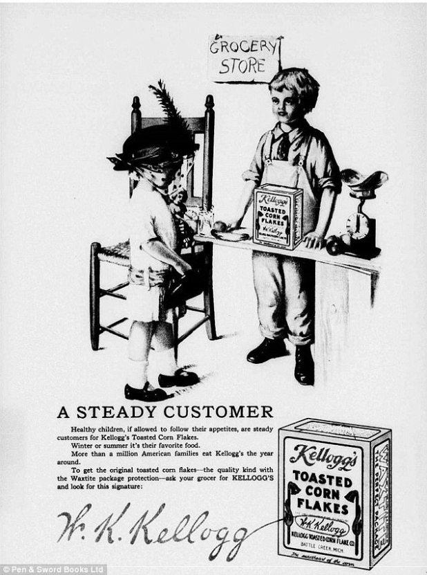 O Dr. Kellogg criou um produto de trigo picado que esperava diminuir o apetite sexual. Assim, os flocos de milho surgiram por acidente com a rotação errada da manivela de cereal