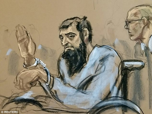 Saipov, 29, wore a gray shirt and was surrounded by five guards while in his wheelchair inside a New York federal courthouse after he was charged with providing material support to a terrorist group and committing violence and destruction of motor vehicles