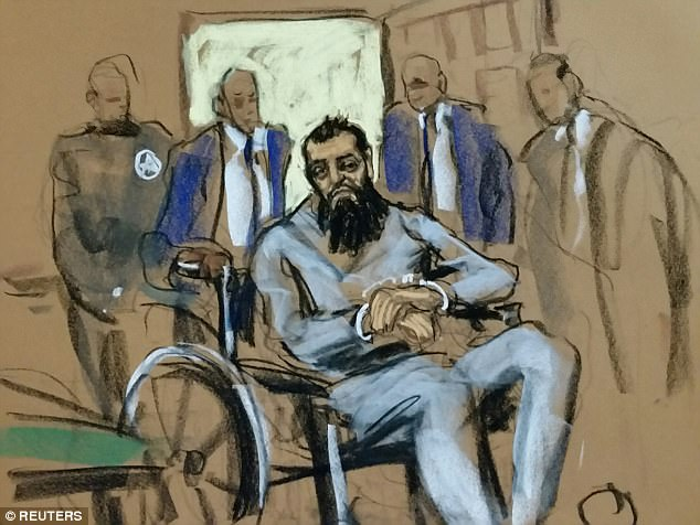 The Muslim immigrant from Uzbekistan (above in court sketches) accused of carrying on Tuesday's terror attack in Manhattan entered court Wednesday evening in a wheelchair, handcuffed and with his feet shackled, to face terrorism charges filed against him by the U.S. Attorney for the Southern District of New York