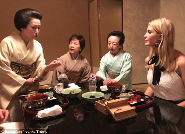 Fine dining: Right after her landing, Ivanka went to enjoy a traditional kaiseki meal, a refined, meticulously prepared multi-course dinner