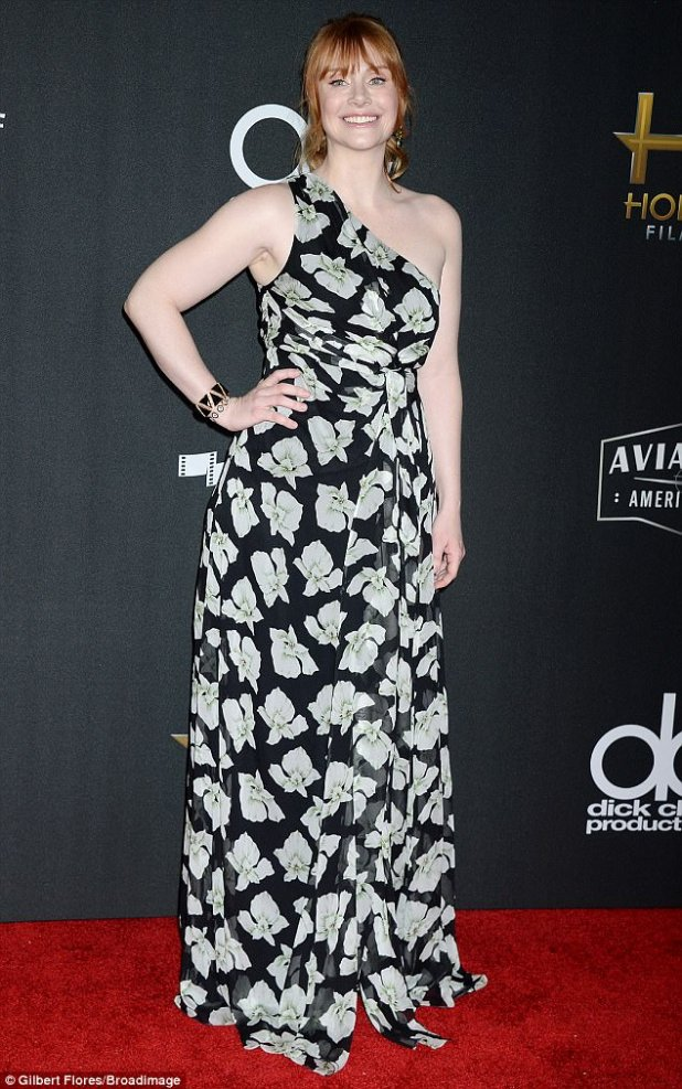 Headliner: Bryce Dallas Howard looked as pretty as a petal as she arrived for the Hollywood Film Awards on Sunday night