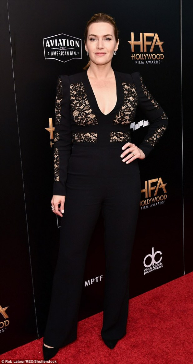 Gorgeous: The British actress wore her dark blonde longhair in a jaunty ponytail and accessorized with diamond drop earrings
