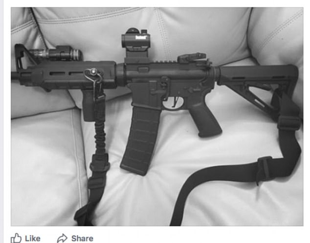 Kelley, who was married, had recently posted a photo of an AR-15 style gun on his Facebook page with the caption: 'She's a bad b***h'