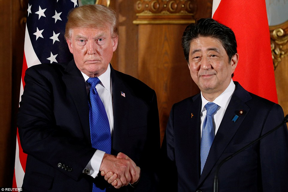Donald Trump kicked off his 12-day Asian trip in Japan on Sunday. The President met with Japan's Prime Minister Shinzo Abe amid heightened tensions over Pyongyang's nuclear and missile tests