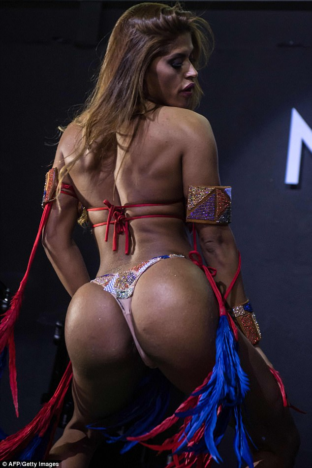 The glamorous brunette was seen showing off her derriere in a sequin thong during the final