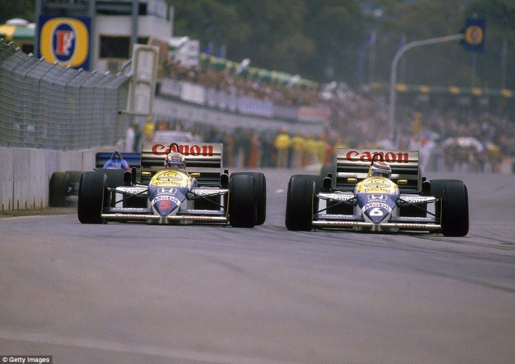 Mansell (left) only needed third to win the world championship so was content to allow Piquet past during the race for second place - which became first after Keke Rosberg's retirement. But with just 20 laps left Mansell's left rear tyre dramatically exploded on the Brabham straight at 180mph putting the title in Piquet's lap...