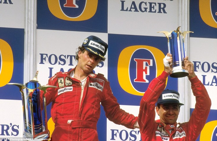 Race day in 1987 brought a dominant Ferrari performance as Gerhard Berger (left) led home team-mate Michele Alboreto. Having taken pole position, the fastest lap and race victory while also leading every single lap (despite having to overtake the fast starting Nelson Piquet) Berger's victory resulted in his only Formula One grand slam