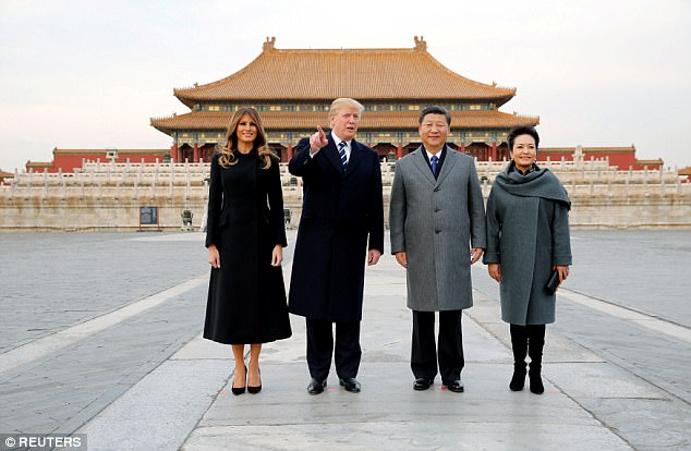 Trump took in an extra special performance of Peking opera on Wednesday during a grand tour of the Forbidden City put on by Chinese President Xi Jinping. President Trump and First Lady Melania Trump are seen here in the Forbidden City with Xi and his wife Madame Peng Liyuan