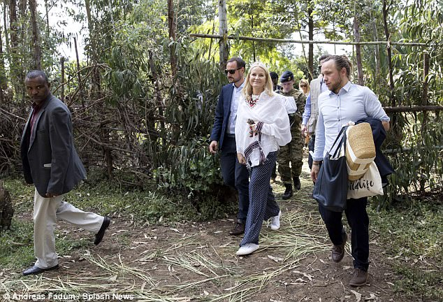 The couple were joined by a small entourage as they explored the area outside Addis Ababa