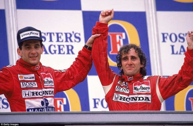 One year on and it's another dominant one-two. This time though it's for the all conquering McLaren team as Alain Prost has his hand held aloft by team-mate Ayrton Senna following the Frenchman's victory in Adelaide. Even considering this was after Senna had become world champion it shows that the relationship between the pair wasn't always bad at McLaren