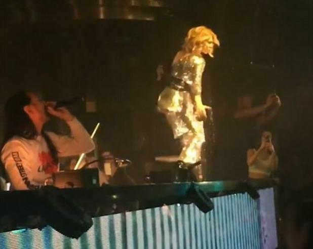 Consejo del iceberg: Celine Dion dio un nuevo giro a su éxito My Heart Will Go On, mientras lanzaba algunas formas serias al remix de DJ Steve Aoki en Las Vegas el martes por la noche