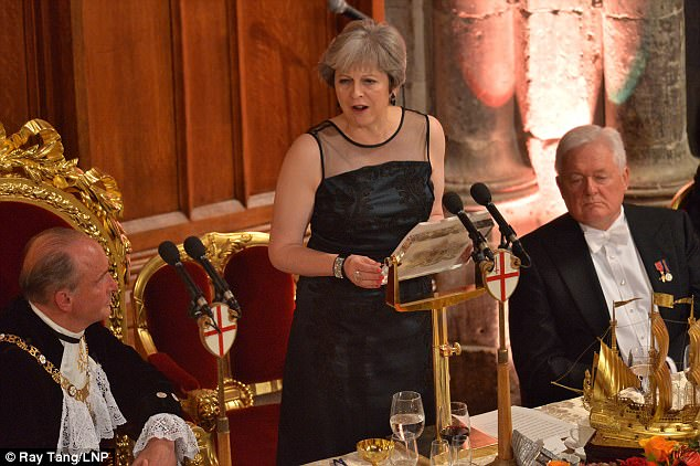 Image result for theresa may, lord mayor's dinner, photos