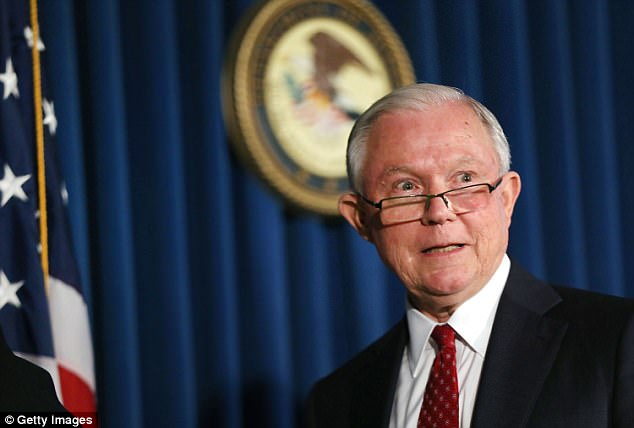 The Justice Department said Sessions (pictured here) had directed senior federal prosecutors to 'evaluate certain issues' recently raised by Republican lawmakers