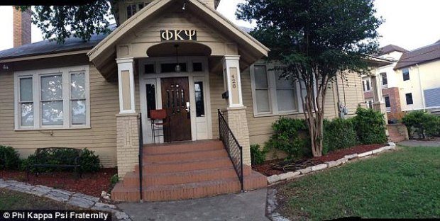 The 20-year-old sophomore from Humble, Texas, had attended a party that Phi Kappa Psi (pictured) fraternity members hosted Sunday night at the apartment